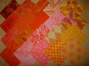 lot de 20 coupons patchwork pêche orange
