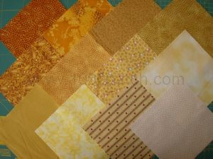 Lot de 12 coupons de tissu patchwork jaunes 15 x15 cm