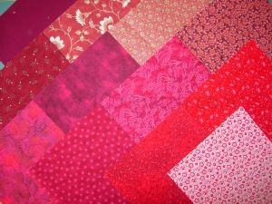 lot de 12 coupons tissus patchwork rouge 15 x15 cm