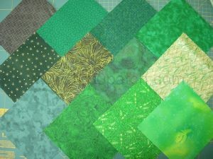 lot de 12 coupons de tissu patchwork verts  15 x15 cm