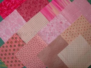 lot de 12 coupons de tissus patchwork  roses 15 x15 cm