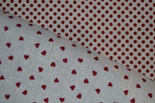 Tissu patchwork toile de lin lot de 2 coupons ficelle et rouge - Tissu patchwork pas cher ...