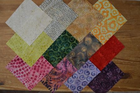 lot de 12 coupons  patchwork batiks 15x15cm