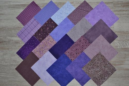 Lot de 20 Coupons de Tissus Patchwork Violet -Parme - Charm Pack