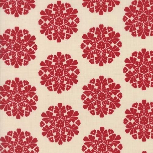 Tissu Moda Madame Rouge - rosaces rouge - French General