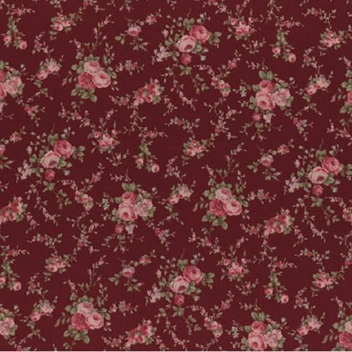 Tissu lecien shabby pas cher bouquets fond rouge fonc for Tissus exterieur pas cher