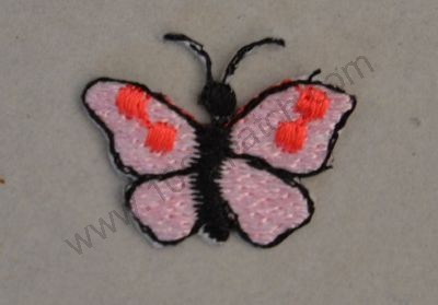 papillon rose brodé thermocollant 2cm