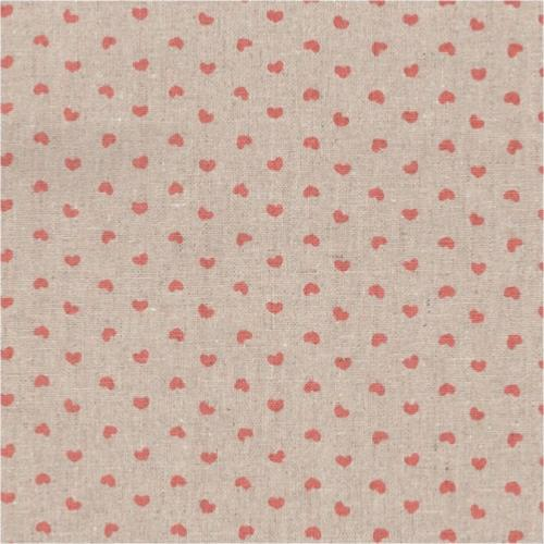 Tissu Lin - Petits Coeurs Roses - Collection Shabby Chic