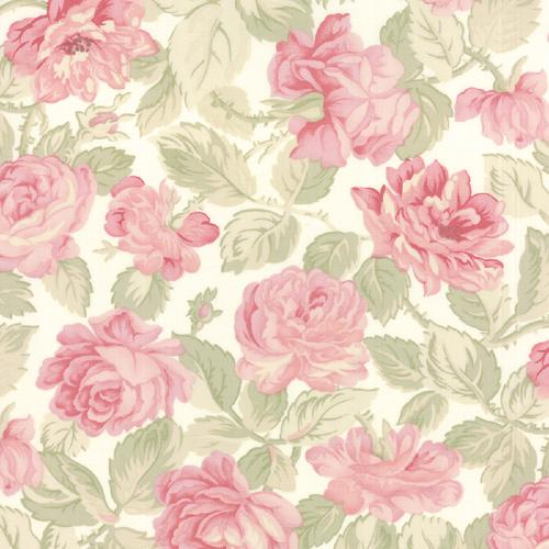 Tissu Patchwork Moda - Grosses Roses Fond Blanc - Collection  3 Sisters Favorite
