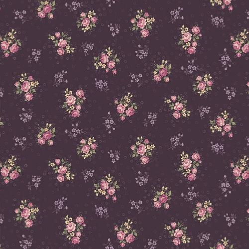 Tissu shabby- Mary Rose- Tissu patchwork petits bouquets prune