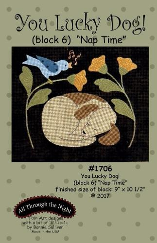 Block Of The Month - BOM Bonnie Sullivan - you lucky dog- block 6
