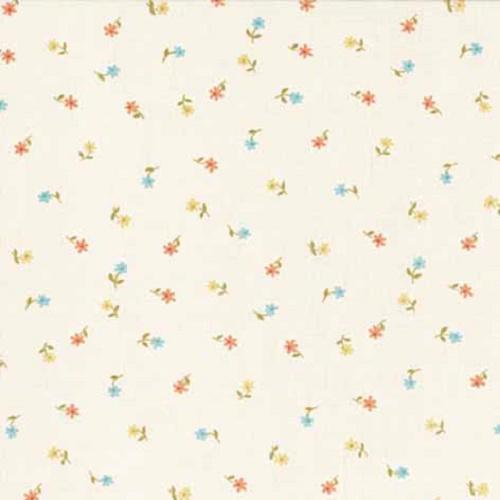Tissu liberty pas cher toutes petites fleurs orange et bleu for Tissus exterieur pas cher