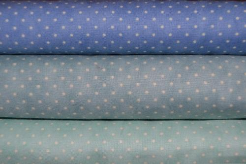 Tissu à Pois Moda  – Lot de 3 coupons patchwork bleu –  Essential Dots