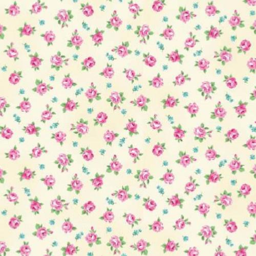Tissu Patchwork shabby petites roses vanille - Mary Rose