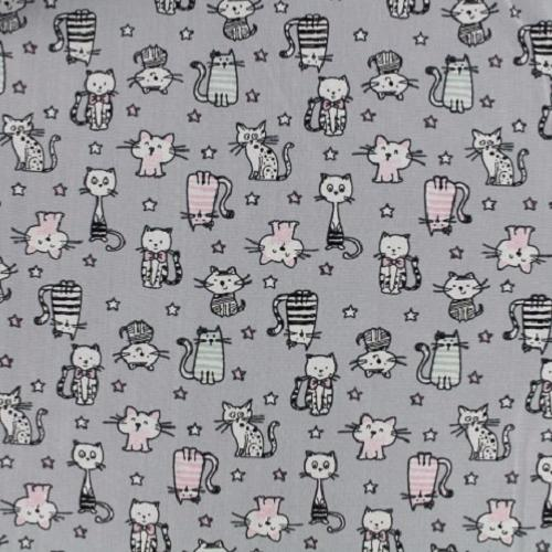 Tissu Cotonnade Pas Cher – Petits chats Fond gris – Collection Shining Kitty