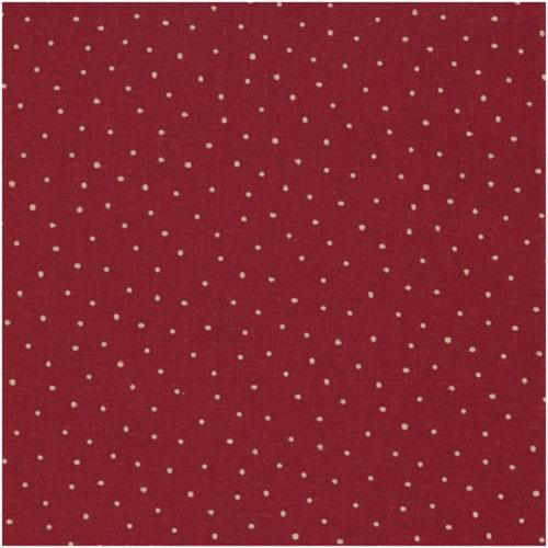 Tissu Lin - Petits Pois Ficelle fond Rouge - Collection Shabby Chic