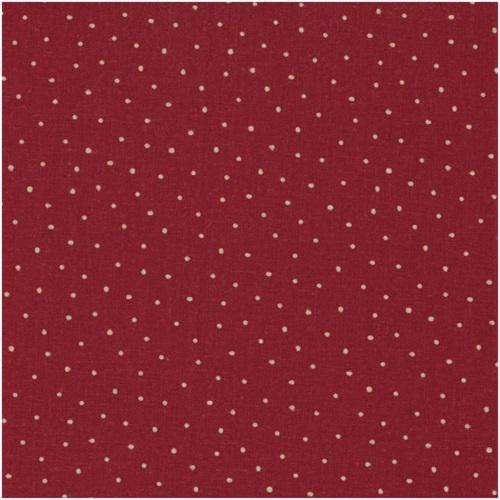 toile de lin petits pois ficelle fond rouge shabby. Black Bedroom Furniture Sets. Home Design Ideas
