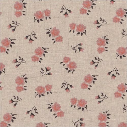Tissu Lin - Petites fleurs Roses - Collection Shabby Chic
