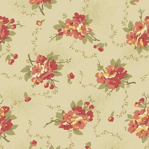 Tissu Makower Edyta Sitar - Bed Of Roses - Dahlia Cream