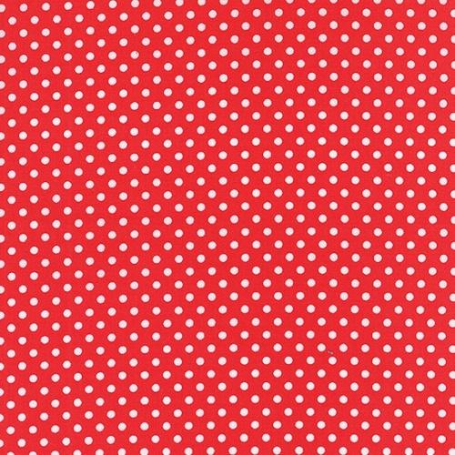 Tissu Patchwork Moda - Petits Pois blancs fond rouge - PROMO