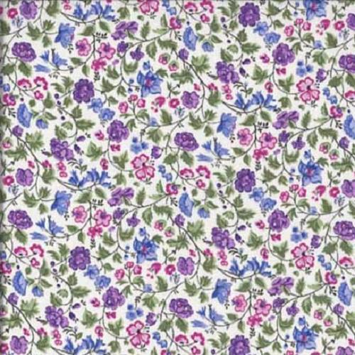 Tissu makower liberty pas cher tapis de fleurs bleues et violettes - Tissu liberty pas cher ...