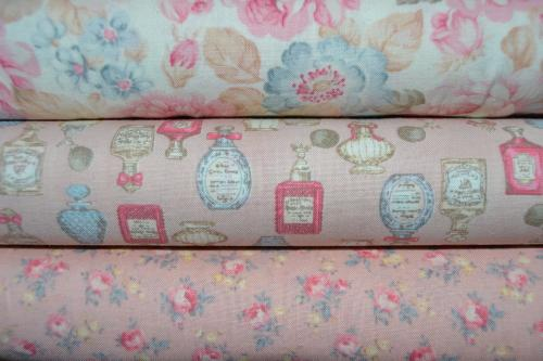 Tissu Shabby – Lot de 3 coupons Patchwork Rose – Collection Mary Rose