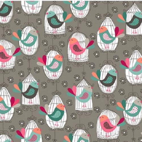 Tissu makower pas cher tissu patchwork cages oiseaux gris collection cats - Tissu patchwork pas cher ...