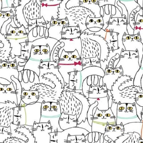 Tissu patchwork Chats - Quilting Treasures - Cat Fish Blanc