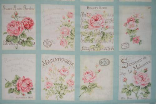 8 Vignettes De Tissu Patchwork Shabby Mary Rose Ton Turquoise