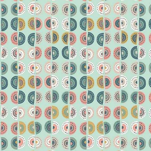 Tissu makower tissu patchwork ronds bris s turquoise collection sophia - Lot tissus patchwork pas cher ...