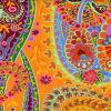 Tissu Kaffe Fassett  Paisley Jungle  Tangerine - GP60 orange