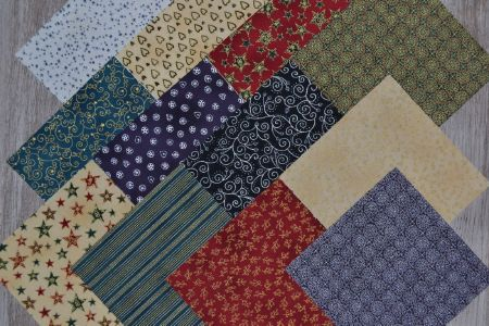 lot de 12 coupons patchwork noël 15 x15 cm