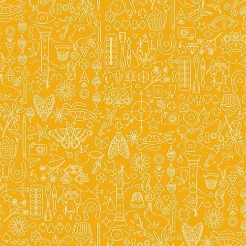Tissu Makower Jaune - Sun Prints Pencil - Sunprints 2019