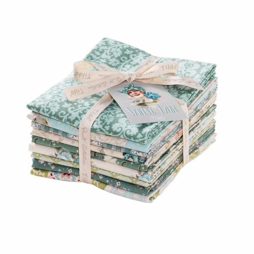 Tissu tilda pas cher lot de 9 coupons spring lake turquoise et vert d 39 eau - Lot tissus patchwork pas cher ...