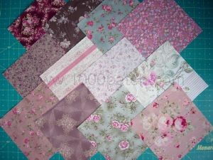 lot de 12 coupons patchwork shabby fleuris 15 x15 cm