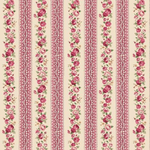 Tissu shabby- Mary Rose- Tissu patchwork fleurs et rayures roses