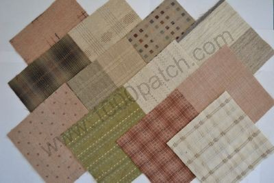 Lot de 12 coupons patchwork japonais tissés 15 x15 cm