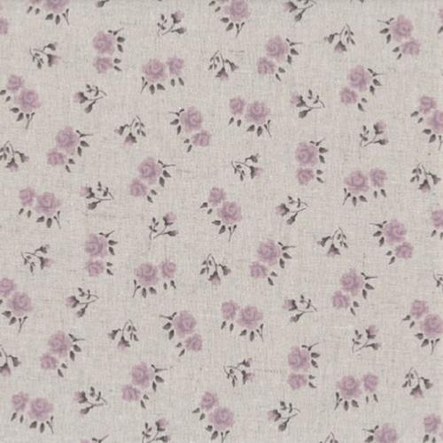 Tissu Lin - Petites fleurs Parme - Collection Shabby Chic