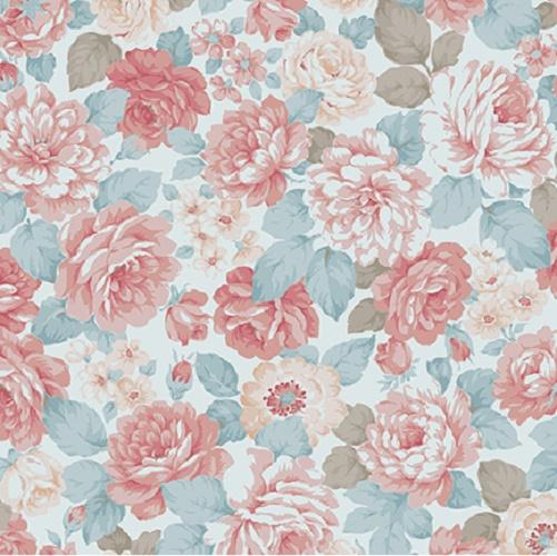 Tissu shabby- Collection Mary Rose- Tissu patchwork fleurs pêche