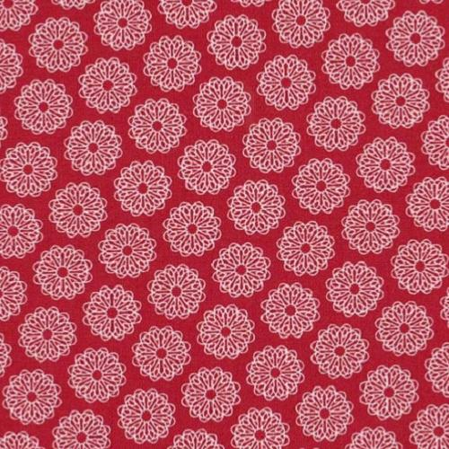 Tissu  Moda Red Project - Tissu Patchwork rouge Rosaces blanches