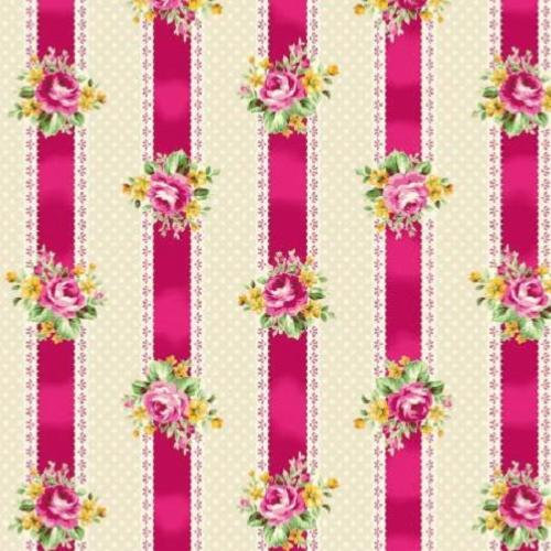 Tissu patchwork Quilt Gate - Rayures fuschia - Tea Party