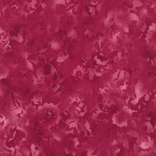 Tissu Patchwork Fusion bloom Tons sur Tons floral rose fuschia