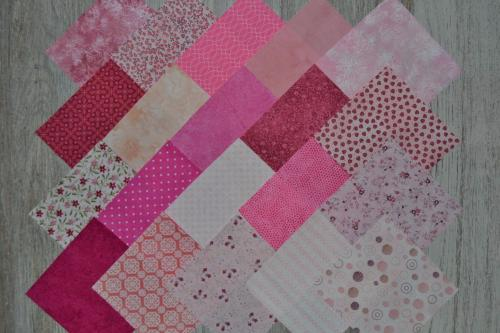 Lot de 20 Coupons de Tissus Patchwork Roses