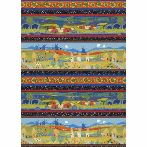 Fat de Tissu Patchwork  -Villages Africains-Collection Family Life