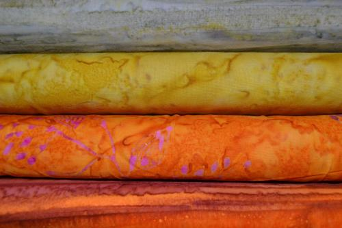 Tissu Patchwork Batik Agrume – Lot de 4 coupons patchwork