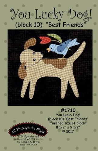 Block Of The Month - BOM Bonnie Sullivan - you lucky dog- block 10