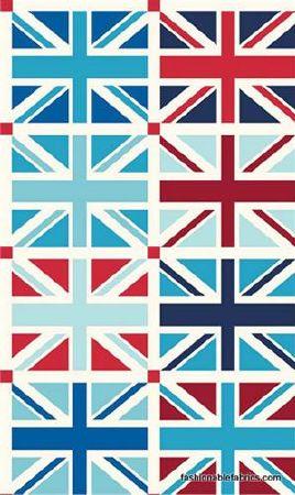 Panneau tissu patchwork riley blake 6 drapeaux anglais union jack - Drapeau anglais tissu ...