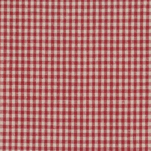 Tissu Lin Shabby Chic - Petits Carreaux Rouges