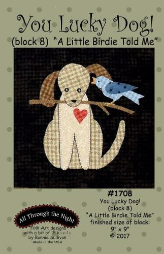 Block Of The Month - BOM Bonnie Sullivan - you lucky dog- block 8