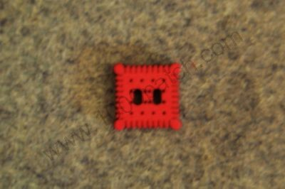 "Bouton patchwork ""petit lu"" rouge"